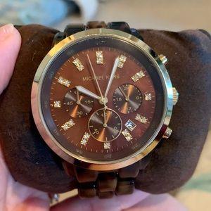 Michael Kors tortoise shell oversized watch